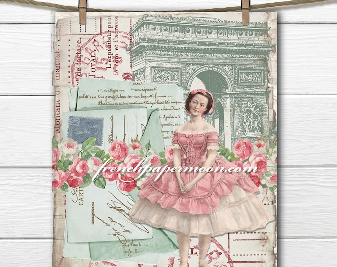 French Ballerina Girl Digital Printable, Shabby Chic Arc De Triomphe, Roses, French Graphics, Large Image, Pillow Transfer