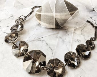 Vintage Smoky Glass necklace, 80's glam, Prom night necklace, Material Girl, Hollywood, glass beads, silver chain,