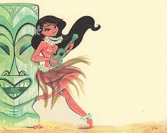 Luau Invitation Set of 12, Hawaiian Theme Party, Hula Girl plays Ukalaylee, Tiki Statue, Linen Card Stock by MissHollyLu