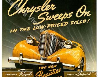 1938 CHRYSLER Vintage Advertising ART PRINT
