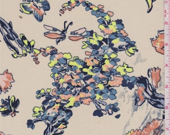 Almond Stylized Floral Crepe, Fabric By The Yard