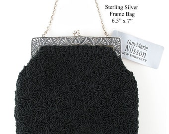 Hand Crocheted Purses With Sterling Silver Frames - Style 112