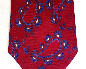 "Vintage mens tie, maroon with blue paisley, made in england..... ""Like"" our fb page for 10% discount"