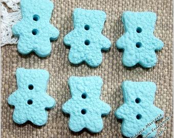 -Polymer clay - bears - 18X14mm - set 6 button-