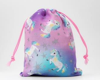 Unicorn, Unicorn Party, Unicorn Birthday, Fabric Bags, Candy Bags, Treat Bags, Favor Bags, Drawstring Bags, Goodie Bags, Party Bag, Set of 9