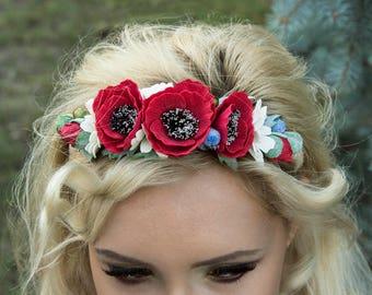 Red poppy flower Red Poppy Headband  Red Wild Flower Festival Wear Flower Headbands Wedding Bridal Big Flower Girl Band Ukrainian wreath