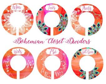 Bohemian Closet Dividers, Boho Closet Divider, Fiery Orange Pink Closet Divider, Days of Week Clothes Divider, Oraganizers