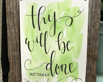 Thy Will Be Done   Hymn Wall Art   Christian Wall Art   Scripture Wall Art   Watercolor   Calligraphy