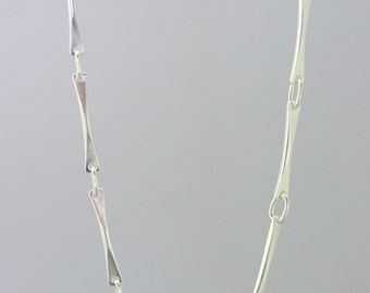 Silver handmade chain, solid white gold handmade chain, handcrafted chain necklace,  women chain, handmade jewelry, link bar chain