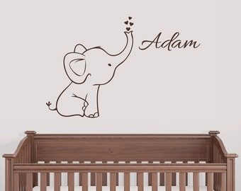 Free Shipping! Personalized Elephant Wall Decal Nursery Decor