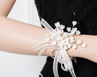 Limited Edition Mother-of-Pearl Hearts  Corsage  - White Corsage  -  Wrist Corsage