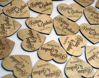 Wooden Heart Wedding Favors - Rustic Wedding Favor Magnets - Personalized Wood Save the Dates