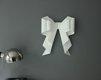 Large Double Origami Bow Photo Prop Wall Hanging - Baby Shower, Engagement, Wedding and Christmas Decoration
