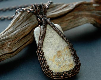 Fossil Coral Pendant, Sea Fossil Necklace, Wire Wrapped Pendant, Copper Jewelry, Statement Necklace, Handmade Jewelry, Gift for Beach Lover