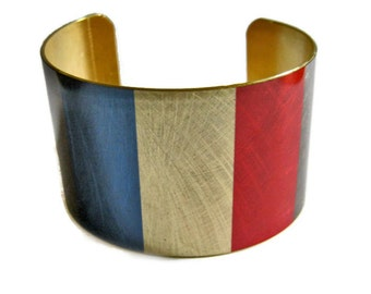 France FLAG cuff bracelet French Brass  Aluminum Heritage Gifts for her