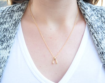 Rose Gold Wishbone Necklace, Lucky Wishbone Necklace, Friendship Necklace, Everyday Simple Necklace