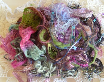 19 Types! Northern Lights fiber art yarn bundle #2/embellishment trim/novelty yarn pack/19 yds./junk journal/scrapbook/card-making/weaving