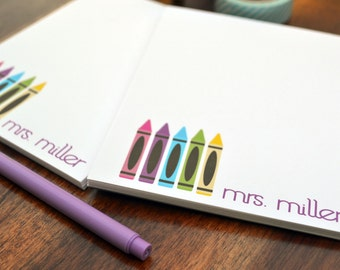 Teacher Notepads / Personalized Notepads / Personalized Teacher Note Pads/ Set of Notepads /  Set of 2 Crayons Galore Notepad