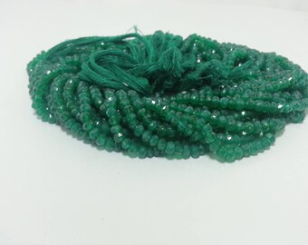 Natural Green Onyx Faceted Rondelle Beads | Green Beads | Onyx Beads | Onyx Faceted Bead | Green Onyx Faceted Bead | Wholesale Gemstone Bead