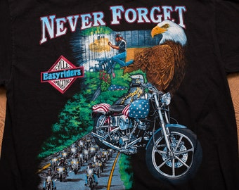 Vietnam Veterans Memorial Wall Biker T-Shirt, Easyriders Cycle Magazine Tee, Vintage 1990s, Eagle & Motorcycle