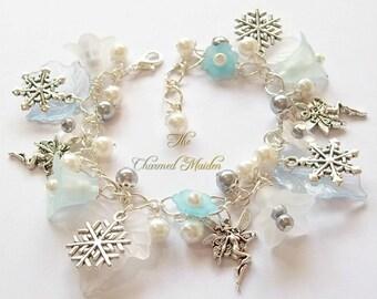 Winter Fairy Charm Bracelet, Flower Fairy Bracelet, Snowflakes Bracelet, Fairy Bracelet, Pagan Bracelet, Winter Flowers, Winter Solstice