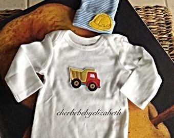 Hospital Newborn dump truck Onesie, blue and white striped hospital hat with construction worker hat, boy Hospital Hat
