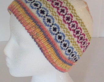 hand knit fairisle beanie hat for women in cream wool with blue, green and pink patterns