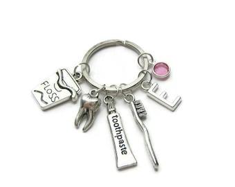 Personalized Dental Keychain, Dental Hygienist Keychain, Dentist Keychain, Dental Hygienist Gift, Dentist Gift, Dental Jewelry Gift
