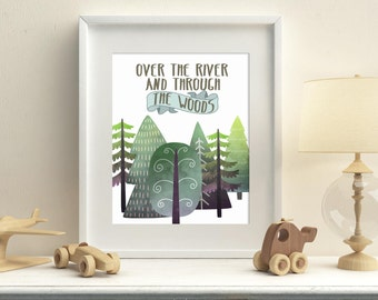 Woodland printable wall art, nursery woodland art, over the river and through the woods art, kids room, wall decor download