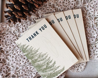 Rustic Pine Thank You Notes - thank you note card set - wedding thank you cards