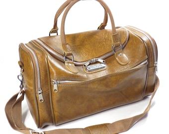 Tan Marbled American Tourister Flight Bag Vintage 1980s Airplane Carry On Shoulder Bag Luggage Tote Bag