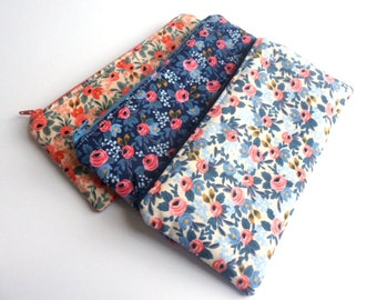 Floral Pencil Pouch, Small Zipper Pouch, Pencil Case, Purse Organizer, Makeup Bag, Rifle Paper Co