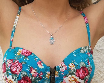 Sterling silver 'hamsa' with opal