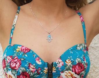 Sterling silver 'hamsa' met opaal