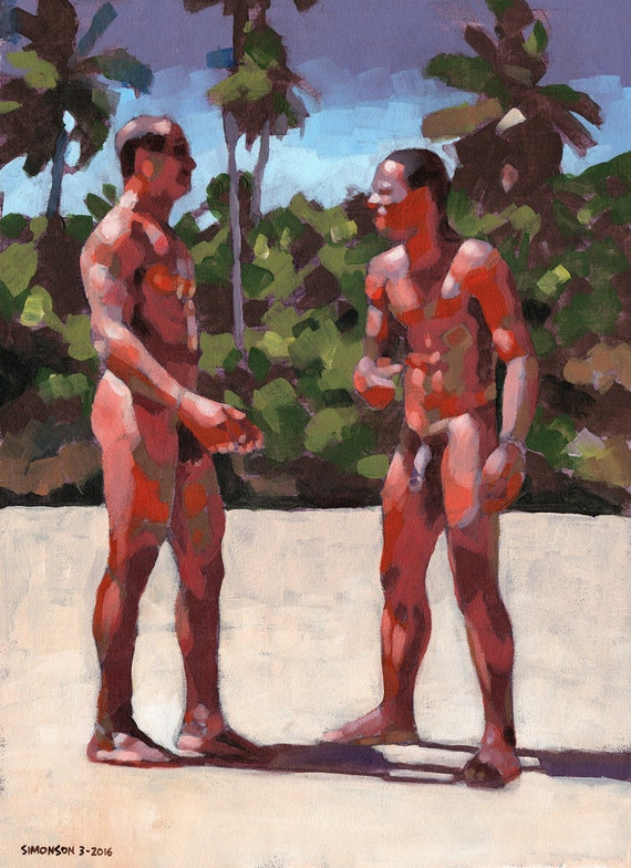1160303 In Bahia 18X24 Original Painting Of 2 Nude Brazilian-8281
