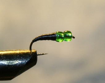 Fly Fishing - Fishing Lure - Double Green Glass Bead Head - Black Thread Hard Body - Trout - Michigan - 10 Hook - Mother or Father - For Him