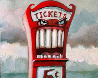 Ticket Booth. Signed Print of an Original Oil Painting