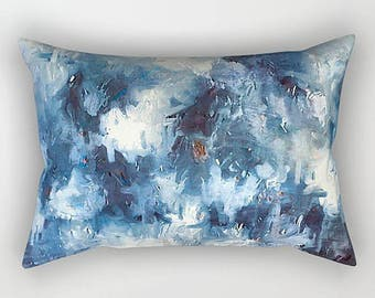 Blue Pillow, Rectangular Pillow, Watercolor Pillow, Couch Cushion, Blue And White, Lumbar Pillow, Couch Pillow, Throw Pillow