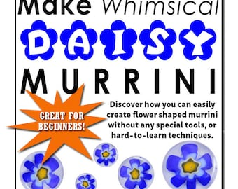 Glass Art, MAKE Whimsical DAISY MURRINI, Lampworking, Millefiori Glass, Lampwork Tutorial, Glass Beads, Murrine Glass, Glass Blowing Lessons