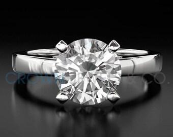 Diamond Ring Women Round Cut Engagement Ring 0.6 Carat F VS Certified Diamond 18K White Gold Ring