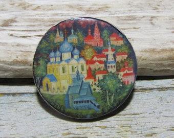 Round cabochon ceramic, Russian folk art decor, painting landscape, crimping, painting, mosaic-Marie