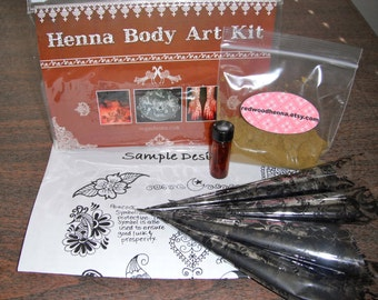 Henna Kit for temporary tattoos, comes with 4 rolled henna cones, henna design sheet, henna powder, everything you need to do your own henna