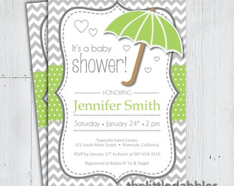 Printable Green Umbrella Baby Shower Invitation -- Baby Sprinkle, Spring Rain, Shower Mom With Love Party, Raining Hearts -- PNG & JPG