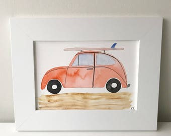 Original Watercolor, Watercolor, Original Artwork, Handmade Art, Volkswagen Beetle, VW Bug, Beach Day, Surf, Summer Art