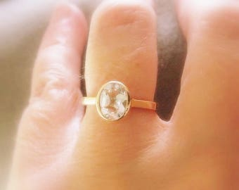 White Topaz 14K Gold, oval cut, yellow, white, and rose gold, Made to Order