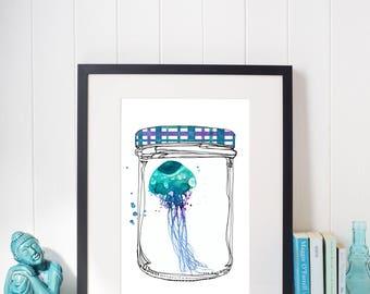Watercolor Illustration Teal Medusa In a Glass Jam Jar, Instant Download, Print at Home, Home decor
