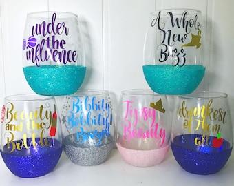 Princess Wine Glass Set of 6/ Disney Bachelorette/ Disney Cruise/ Disney Girls Trip/ Disney Wedding/ Disneyland Birthday