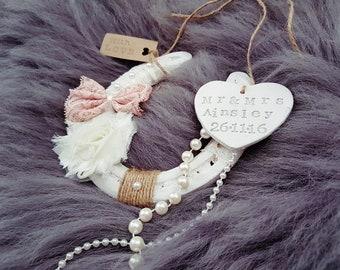 Personalised Wedding Horseshoe, Pink, Vintage Iron Horseshoe Rustic Wedding Gift, 6 year anniversary gift, Boho Horseshoe, Bridal Horseshoe