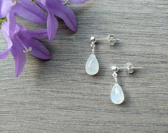 Silver Stud Earrings with Moonstone Drops, Moonstone Earrings, Moonstone Jewelry, Sterling Silver Dainty Moonstone Drops