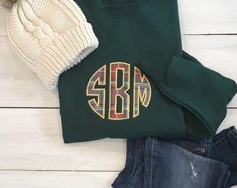 Plaid Monogrammed Crewneck Sweatshirt